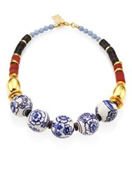 Lizzie Fortunato The New Blue Iii Porcelain Angelite And Agate Beaded Necklace Multi