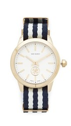 Tory Burch The Collins Grosgrain Watch Navy Ivory Gold