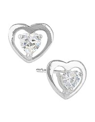 Lord And Taylor Sterling Silver Heart Stud Earrings