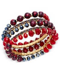 Inc International Concepts Gold Tone 5 Pc. Set Beaded And Crystal Stretch Bracelets Only At Macy's