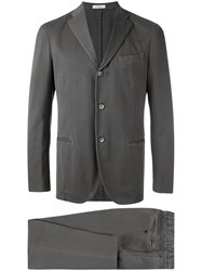 Boglioli Casual Two Piece Suit Men Cotton Cupro 52 Grey