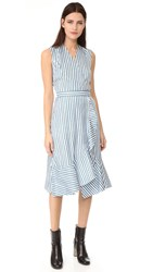 Carven Striped Crossover Dress Blue White