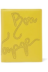 Smythson Piccadilly Perforated Leather Passport Cover Yellow