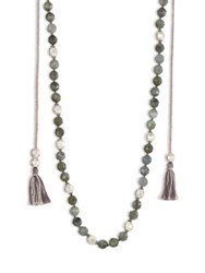 Chan Luu Tasseled Labradorite Long Necklace Dark Green