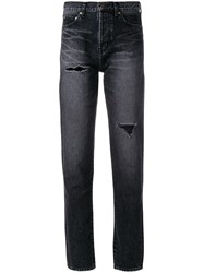 Saint Laurent Distressed Effect Tapered Jeans Cotton Black