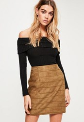 Missguided Tan Embroidered Detail Faux Suede Mini Skirt