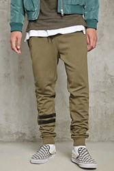 Forever 21 Varsity Stripe Terry Sweatpants Olive Black