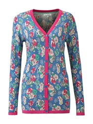 Tulchan Sketched Flowers Cardigan Blue