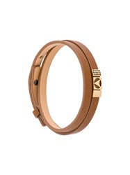 Northskull Insignia Bracelet Nappa Leather Gold Plated Brass Brown