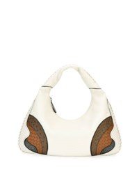 Bottega Veneta Patchwork Large Hobo Bag White Brown