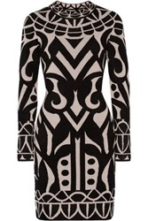Temperley London Jani Chenille Intarsia Stretch Knit Dress Black