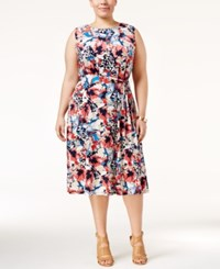 Charter Club Plus Size Floral Print Fit And Flare Dress Only At Macy's Coral Bloom Combo