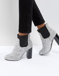 Call It Spring Glitter Heeled Ankle Boots Silver