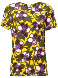 P.A.R.O.S.H. Floral Short Sleeve Top Women Silk M Yellow Orange