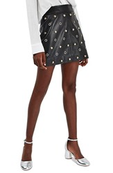 Topshop Women's Stud And Grommet Leather Miniskirt