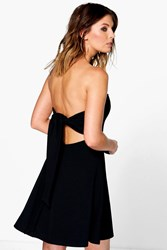 Boohoo Plunge Neck Tie Back Bandeau Skater Dress Black