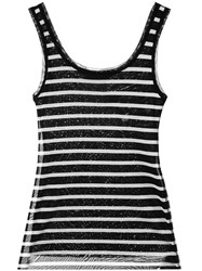 Fuzzi Striped Tank Top Black
