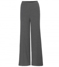 Stella Mccartney Knitted Wool And Silk Blend Trousers Grey