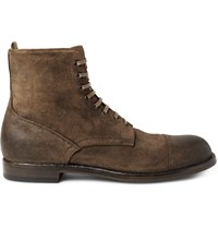 Officine Creative Tempus Burnished Suede Boots Brown