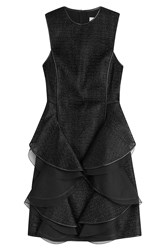 Jason Wu Woven Raffia Sheath Dress With Leather Trim Black