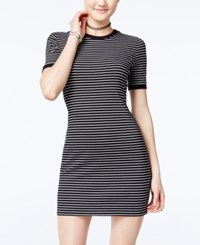 One Clothing Juniors' Ribbed T Shirt Dress Black White Stripes