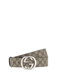 Gucci 40Mm Gg Supreme Logo Leather Belt Beige
