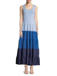 Context Colorblock Tiered Dress Bright Sky