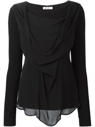 Dondup Draped Front Long Sleeve Top Black