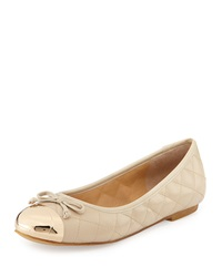 Andrew Stevens Lalo Quilted Metallic Cap Toe Ballet Flat Nude