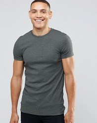 Asos Extreme Muscle T Shirt With Crew Neck In Rib In Green Marl Army Green Marl