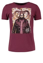 Teddy Smith Tournament Print Tshirt Bordeaux