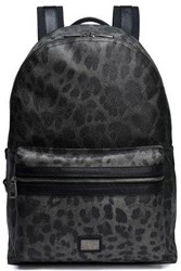 Dolce And Gabbana Leopard Print Textured Leather Backpack Dark Gray