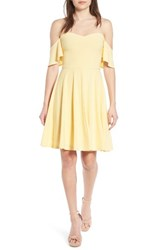 Leith Women's Off The Shoulder Fit And Flare Dress Yellow Cloud