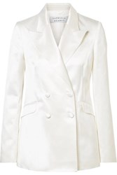 Gabriela Hearst Angela Double Breasted Cotton And Silk Blend Satin Blazer Ivory