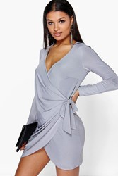 Boohoo Drape Knot Detail Dress Grey