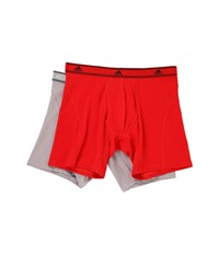 Adidas Relaxed Performance Stretch Cotton 2 Pack Boxer Brief Scarlet Light Onix Men's Underwear Red