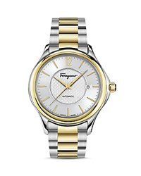Salvatore Ferragamo Time Two Tone Automatic Watch 41Mm Silver Gold