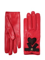 Gucci Leather Gloves W Bow And Cat Detail