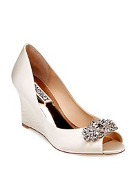 Badgley Mischka Dara Embellished Satin Peep Toe Wedge Pumps Ivory