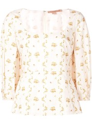 Brock Collection Orecchino Floral Print Cotton Top Neutrals