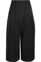 Mcq By Alexander Mcqueen Kilt Pleated Cropped Stretch Wool Wide Leg Pants Black
