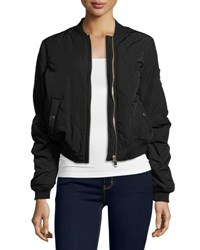 Romeo And Juliet Couture Quilted Woven Bomber Jacket Black