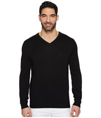 Nautica 12 Guage V Neck Sweater True Black