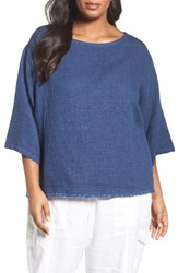 Eileen Fisher Plus Size Women's Double Weave Organic Linen And Cotton Top