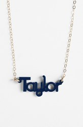 Women's Moon And Lola 'Zebra Block Font' Personalized Nameplate Pendant Necklace Navy Gold