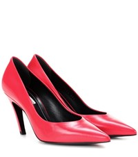 Balenciaga Slash Heel Leather Pumps Red