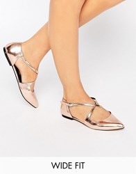 Asos Live For The Moment Wide Fit Ballet Flats Nude Metallic Beige