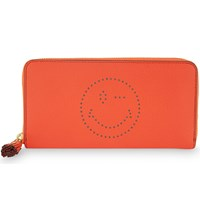 Anya Hindmarch Large Zip Round Calfskin Leather Wink Wallet Coral