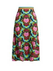House Of Holland A Line Heart Print Crepe Midi Skirt Multi