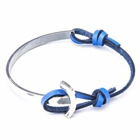 Anchor And Crew Royal Blue Galleon Leather Silver Half Bangle